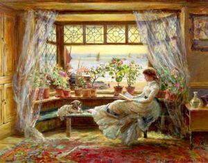 Lewis, Charles James (1830-1892) reading-by-the-window-hastings-charles-james-lewis_thumb